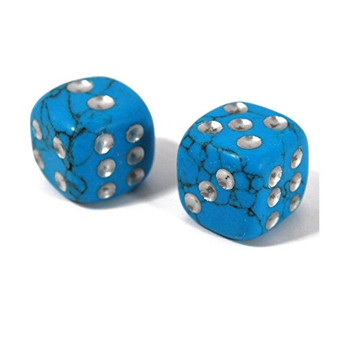 15mm Hand Carved Natural Gemstone Dice Pair (Imitation Turquoise)