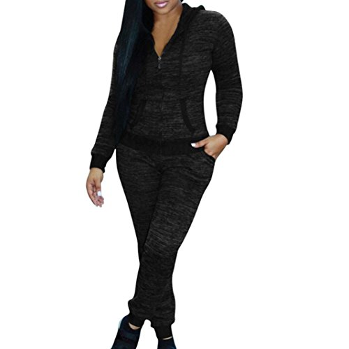 72cdf83e3d Lywey Women Fashion Outdoor Sport Running Skating Casual Hooded Tops Pants  Long Sleeve O-Neck Split 2 Piece Clothes Set (2XL, Dark Gray)