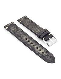 StrapsCo Faded Black Distressed Vintage Leather Watch Strap 22mm