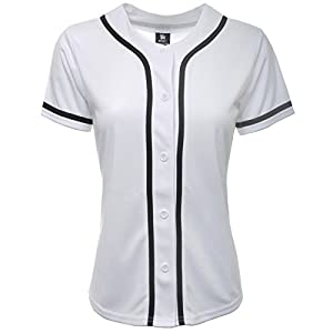 YoungLA Women Baseball Jersey Plain Button Down Shirt Tee 320 White Large