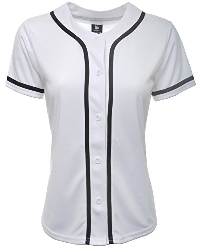 YoungLA Women Baseball Jersey Plain Button Down Shirt Tee 420 White Medium