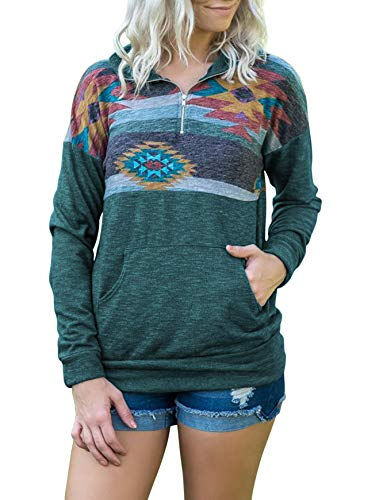 TECREW Womens Good Vibes Long Sleeve Tunic Tops Loose Casual Sweatshirt Pocket T-Shirts ()
