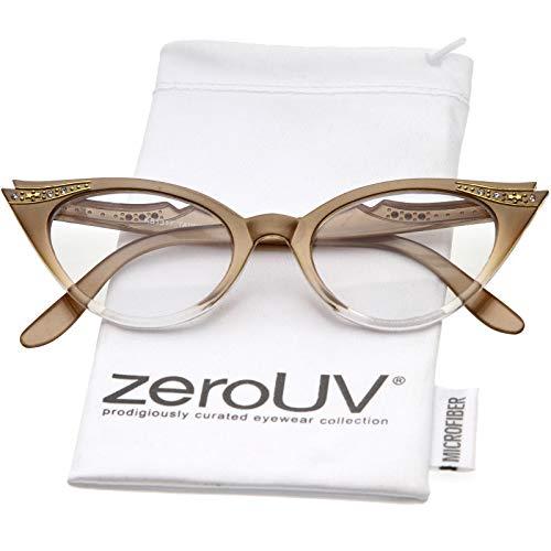 Women's Retro Rhinestone Embellished Clear Lens Cat Eye Glasses 51mm (Brown/Clear)