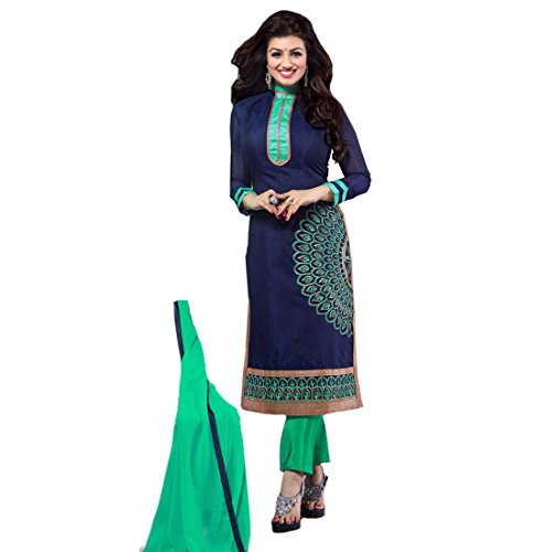 Semi Stitched Bollywood Ayesha Takia Crepe Casual Wear Salwar Suit In Navy Blue Colour