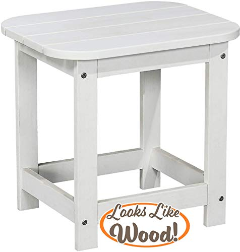 PolyTEAK Compact Outdoor Side Table, Powder White   Weather Resistant, Patio Side Table for Small Spaces Outside   Made from Special Formulated Poly Lumber Plastic (Small White Plastic Patio Table Side)