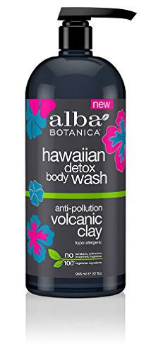 Alba Hypoallergenic Body Wash (Alba Botanica Hawaiian Detox Body Wash, Anti-Pollution Volcanic Clay, 32 fl.oz (6 Count))