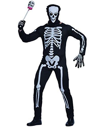 EraSpooky Men's Skeleton Suit Halloween Costume Adult Jumpsuit Morph Suits for Men - Funny Cosplay -