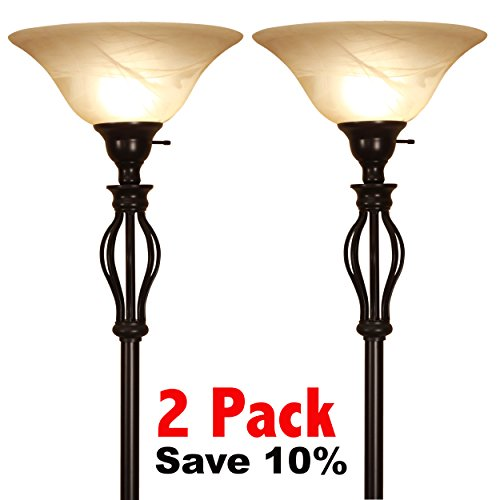 LightAccents, Floor Lamp 70 Inches Height, Traditional Iron Scrollwork Bronze Floor Lamp with Amber Glass Shade (2-Pack) by LIGHTACCENTS