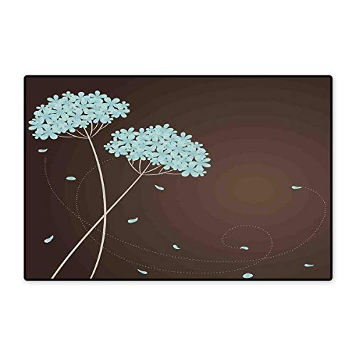(Brown and Blue Door Mats Area Rug Floral Design with Swirl Lines Falling Leaves Autumn Inspired Floor mat Bath Mat 20