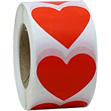 """Hybsk Red Color Coding Dot Labels 1.5"""" Love Heart Shape Natural Paper Stickers Adhesive Label 500 Per Roll (1 Roll)"""