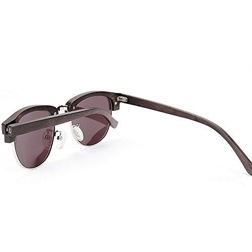 lunettes de unisexe la Lentilles et semi de miroir main lunettes protection conduite femmes hommes bois plates Rétro soleil lunettes lunettes les à Rimless UV en soleil Marron pour en soleil de soleil de les cqqAR6rz