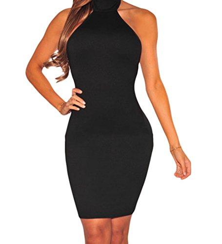 FQHOME Womens Black Lace up Back Halter Dress Size M