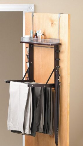 "Over the Door Pant Valet - Elegant Closet Organizer (Espresso/Satin Nickel) (26.50""H x 3.0""W x 22.75""D)"