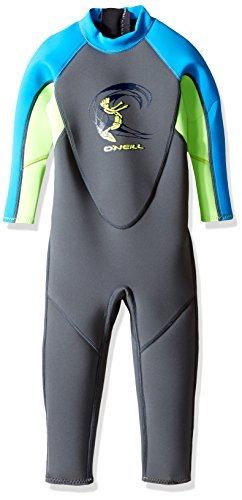 O'Neill Toddler Reactor-2 2mm Back Zip Full Wetsuit, Graphite/Dayglo/Blue, 2