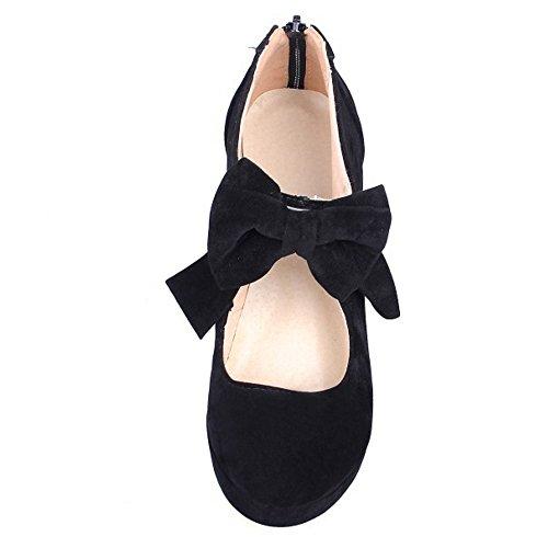 COOLCEPT Mujer Moda Fiesta Court Shoes Tacon De Aguja Plataforma Bootie Bombas Zapatos With Corbata De Mono Negro