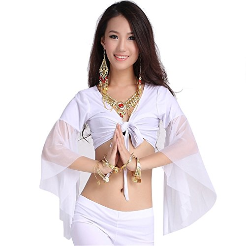 [Belly Dance Top Dancing Lace Yoga Bra Wrap Top Costume For Carnival Party] (White Leotard Halloween Costume)