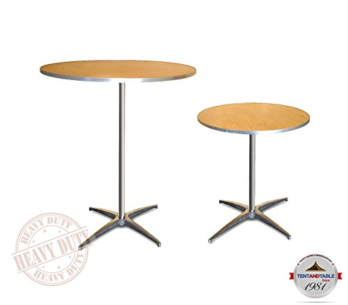 30-Inch (2.5-Foot) Diameter Heavy Duty Round Cocktail or Bistro Solid Birch Wood Folding Table with 30-Inch or 42-Inch Height & Aluminum Edge for Bistros, Patios, Restaurants, Bars & Weddings (2-Pack) (Table Standard Top Round Folding)