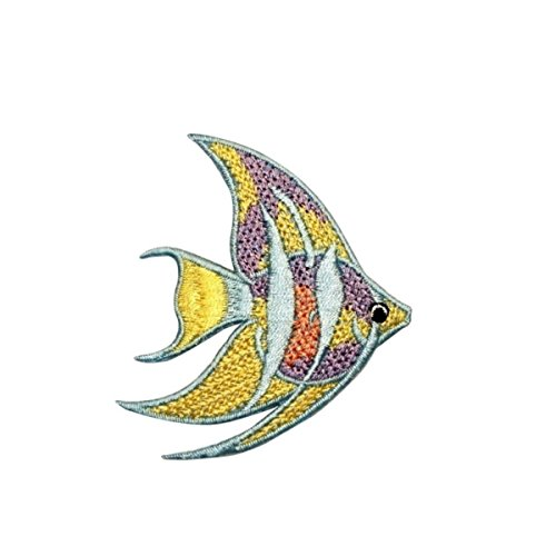 Small Angel Fish - ID 0267A Small Long Fin Angel Fish Patch Ocean Embroidered Iron On Applique