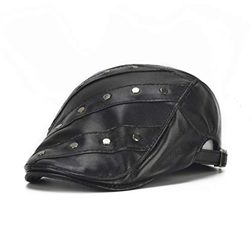 (Studded Berets Men and Women Flat Caps Warm Leather Caps Adjustable Size 55-60CM Autumn Winter Gifts,Black,610CM)