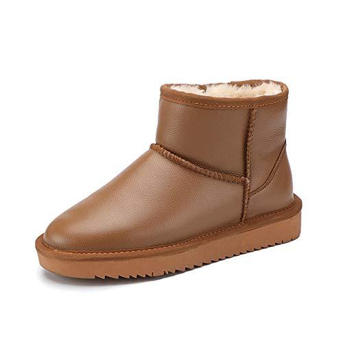 Shukun Shukun Shukun Stiefeletten Herbst Und Winter Schnee Stiefel Weibliche Pu Wasserdichte Baumwolle Schuhe Flache Kurze Rohrverdickung Schuhe Pu Mutter Stiefel 118b45