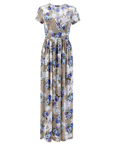 (OUGES Women's V-Neck Pattern Pocket Maxi Long Dress(Apricot,M))