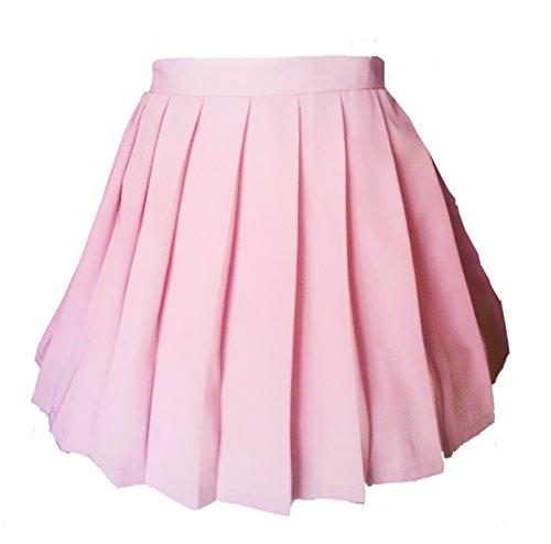 Women`s Japan School Plus Size Plain Pleated Summer Skirts (2XL,Pink) (Harry Potter School Uniform)