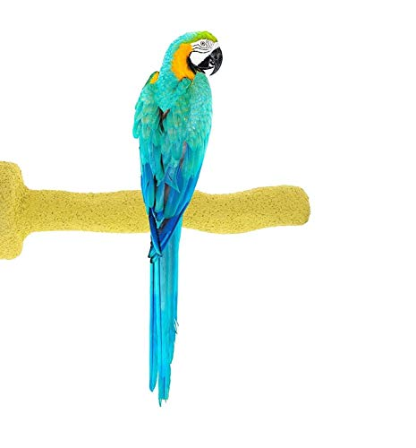 (Sweet Feet and Beak Thermal-Lite Natural Patented Perch, Large - Yellow- Perfect for Keeping Your Bird's Feet and Beaks Healthy)