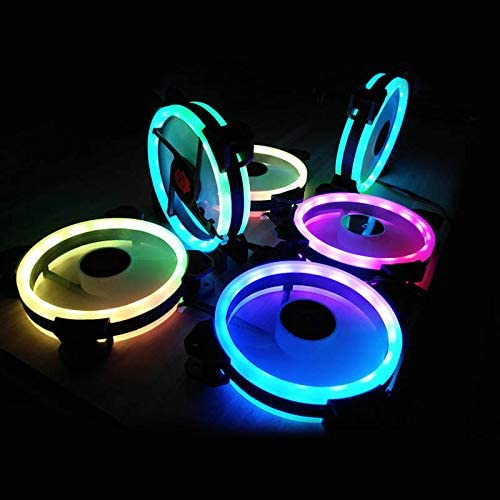 Finetoknow RGB PC Fan 12V 6 Pin 12cm Cooling Cooler Fan with Controller for Computer Silent Gaming Case