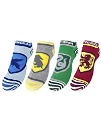 Harry Potter Socks Hogwarts House crests Official 4 Pack Ankle UK Shoe Size 7-9