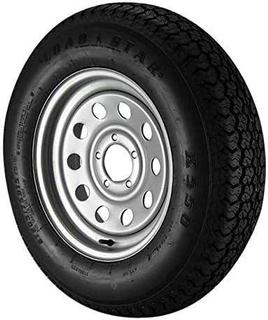 Load Star ST205//75D14 Loadstar Trailer Tire LRC on 5 Bolt White Spoke Wheel