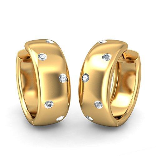 Or jaune 18K 0,2CT TW White-diamond (IJ | SI) Boucles d'oreilles créoles