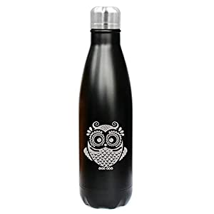 17 oz. Double Wall Vacuum Insulated Stainless Steel Water Bottle Travel Mug Cup Owl Vintage