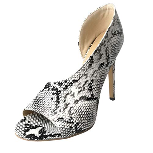 2019 New ! Women Sexy Asymmetrical Pumps Snakeskin Printed Peep Toe Heeled Sandals High Stiletto Pumps by Lowprofile White