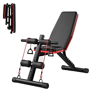Adjustable Weight Bench, Foldable Workout Press Bench, Incline Sit Up Exercise Bench for Home Gym with Fitness Rope