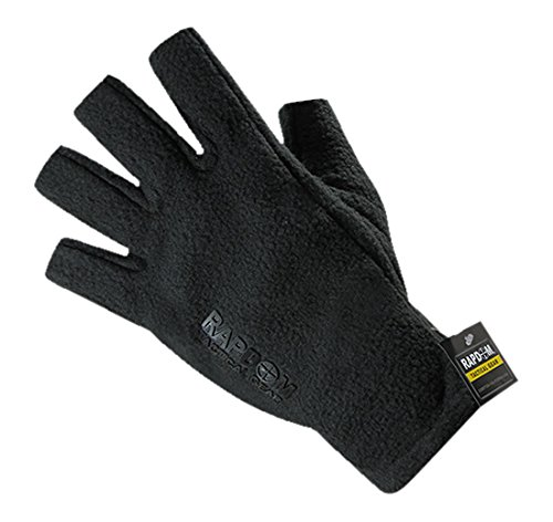 RAPDOM Tactical Polar Fleece Half Finger Gloves, Black, XX-Large by RAPDOM