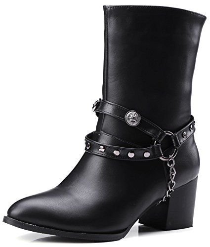 Studded Biker Boots (Summerwhisper Women's Trendy Rivets Studded Strap Chain Pointed Toe Biker Boots Block Slip on Mid Heel Mid Calf Boots Shoes Black 11 B(M) US)