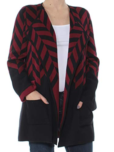 Alfani $99 Womens Burgundy Printed Pocketed Long Sleeve Open Cardigan S B+B