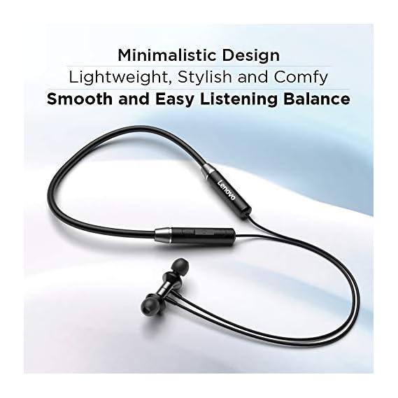 Lenovo HE05 Wireless Bluetooth 5.0 in-Ear Neckband Earphones with Mic (Black