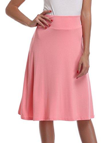 Knit Cotton Pleated Skirt (MISS MOLY Women's Pleated Flared Skater Knit Mid Calf Skirt High Waist A-line Midi Skirt)