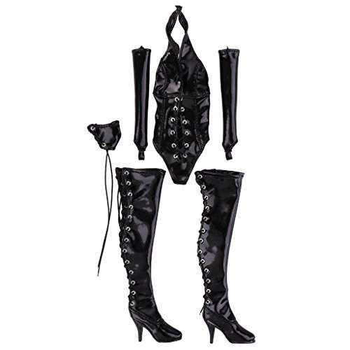 Jili Online 12'' Action Figure Clothes 1/6 Women Halter Lace-up Black Leather Bodysuit Lingerie Set for Hot Toys Accs