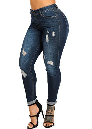 ModaXpressOnline High Waisted Dark Wash Distressed 1 Button Ankle Skinny Jeans 10140R