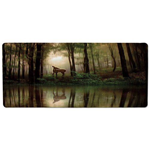 iPrint Pet Mat for Food and Water,Nature,Baby Deer in The Forest with Reflection on Lake Foggy Woodland Graphic,Fern Green Cocoa Brown,Rectangle Non-Slip Rubber Mat for Dogs and Cats (Brown Rug Ferns)