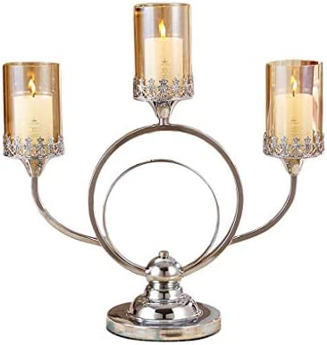 現代のミニマリストのキャンドルライトディナーの小道具クリエイティブ3つの首脳キャンドルシャンデリアの結婚式ロマンチックな装飾用品メタリックブラウンガラスのキャンドルデコレーション