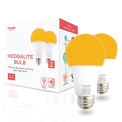 Sleep Light Bulb, Blue Light Blocking Amber Night Light. 1600K Sleep Aid Emits Only 0.06% Blue Light for Healthy Sleep. Baby Nursery Light. 7W LED, 45W Replacement by Hooga. 2-Pack