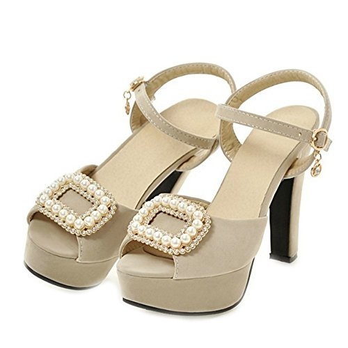 SJJH Chunky Heel Sandals with Velvet Materail Large Size Women Shoes for Wedding Parties Beige tMcUShf