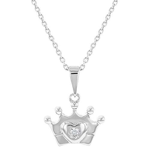 925 Sterling Silver Clear CZ Crown Heart Princess Pendant Necklace Girl Teens 16