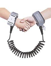 HUGVIDAS - Correa de muñeca antipérdida, cinturón de seguridad para niños con cierre de llave, cinturón de tracción transpirable para niños pequeños, correa de muñeca antipérdida (2 m, gris)