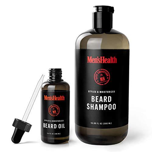 Men's Health Set of Beard Oil and Beard Shampoo, Beard Grooming Kit for a Healthy, Soft and Smooth Beard - 3.4 Fl Oz Beard Oil and 16.89 Fl Oz of Beard Shampoo