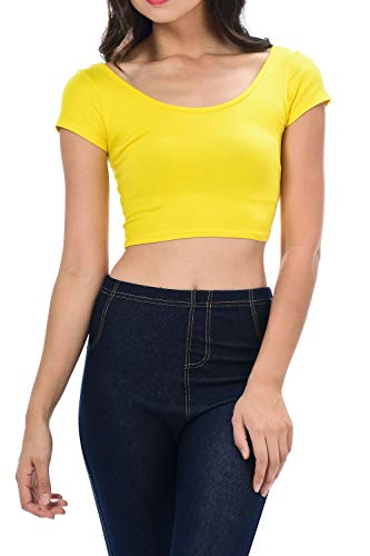 Womens Trendy Solid Color Basic Scooped Neck and Back Crop Top Yellow -