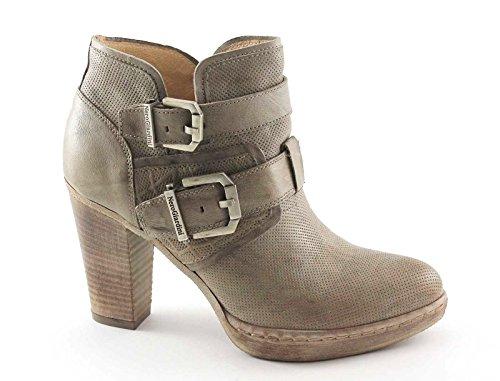 BLACK JARDINES 17142 botas de mujer zapatos de color beige tobillo zip hebillas Beige